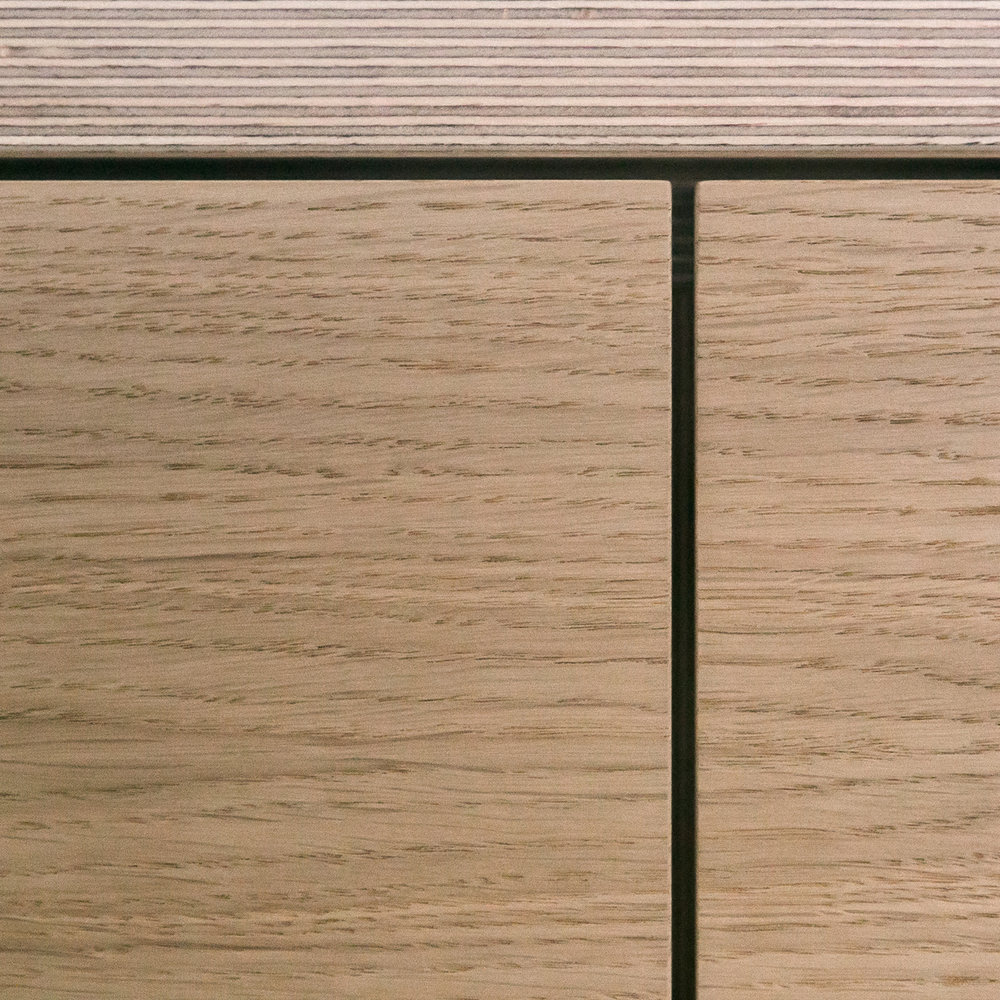 Detail of white oak veneer and Baltic birch plywood