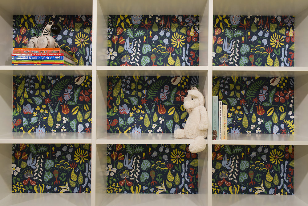 Detail of custom painted bookcase