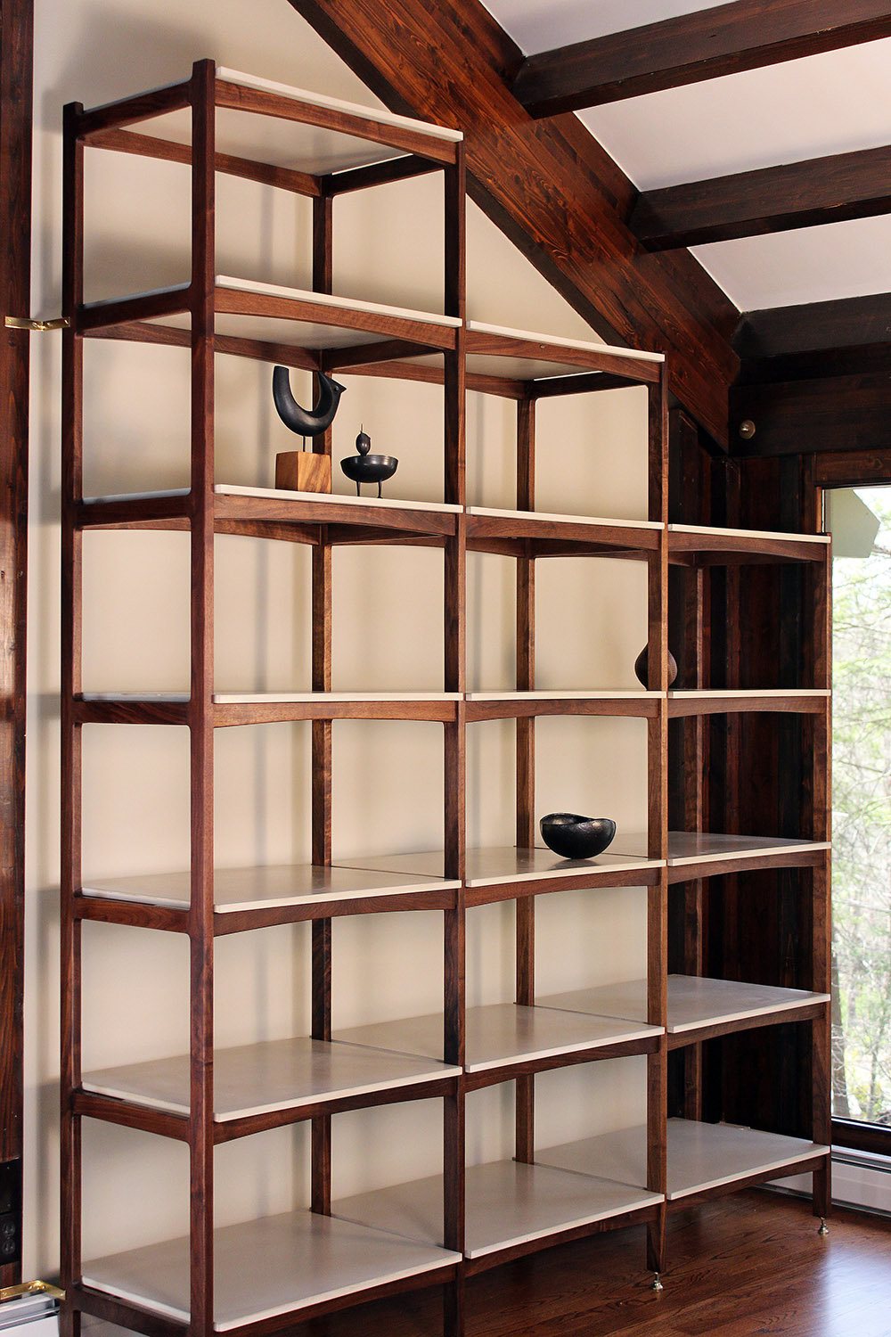 Walnut and concrete etagere