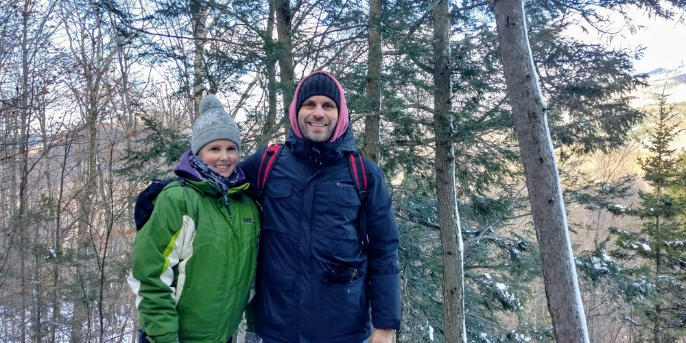 My wife Kristina and I on Mount Sutton in Quebec.