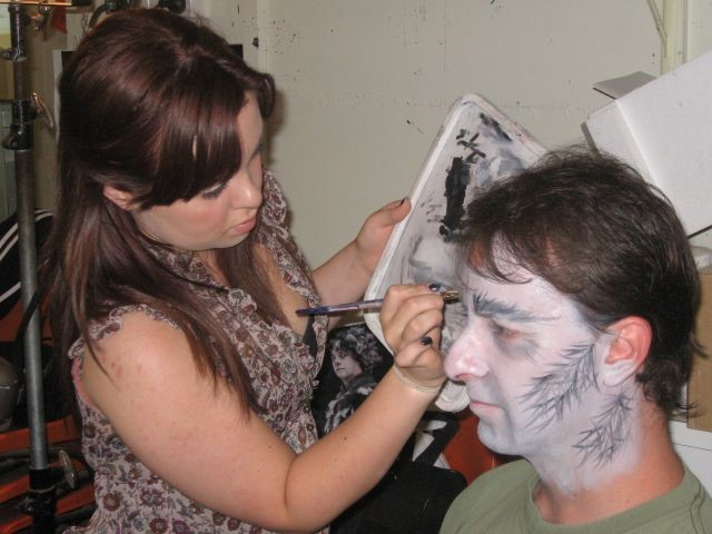 Russell Hull with make-up artist Laura Scott