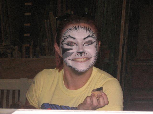 Amanda Woodbine applies her own make-up