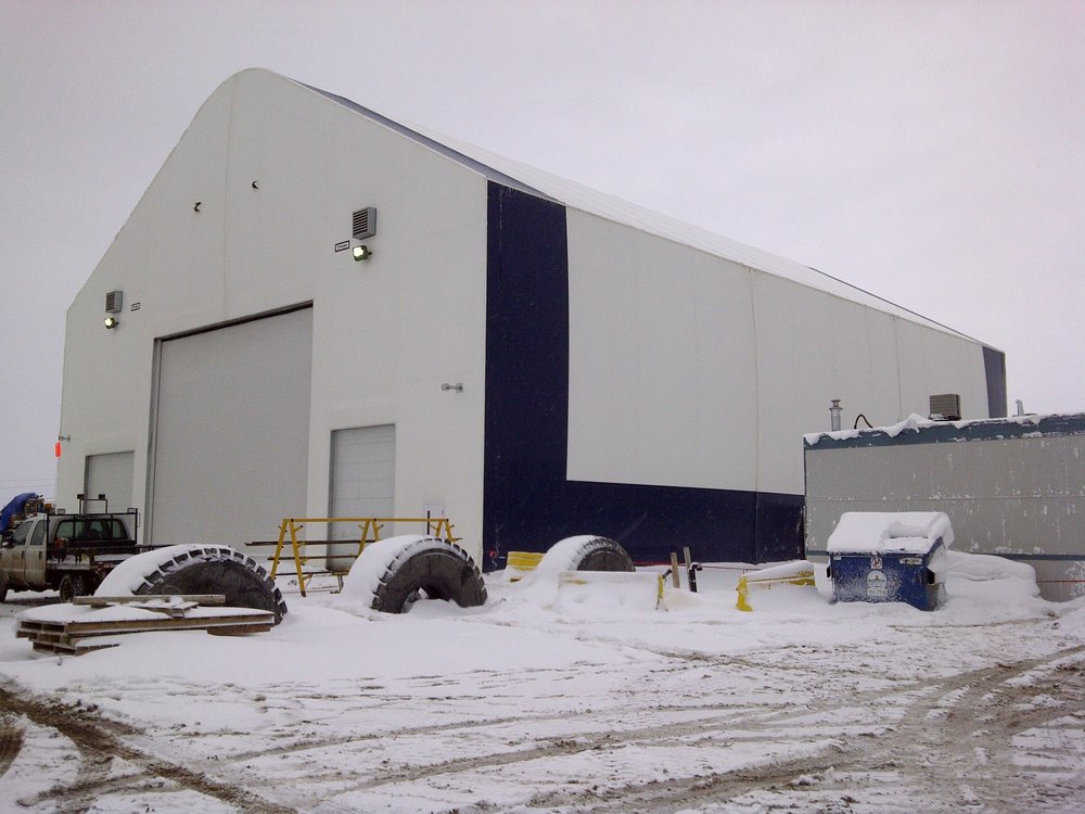 Portable Tent Structure  Located at Mildred Lake, Fort McMurray AB.  A temporary/ permanent storage facility .