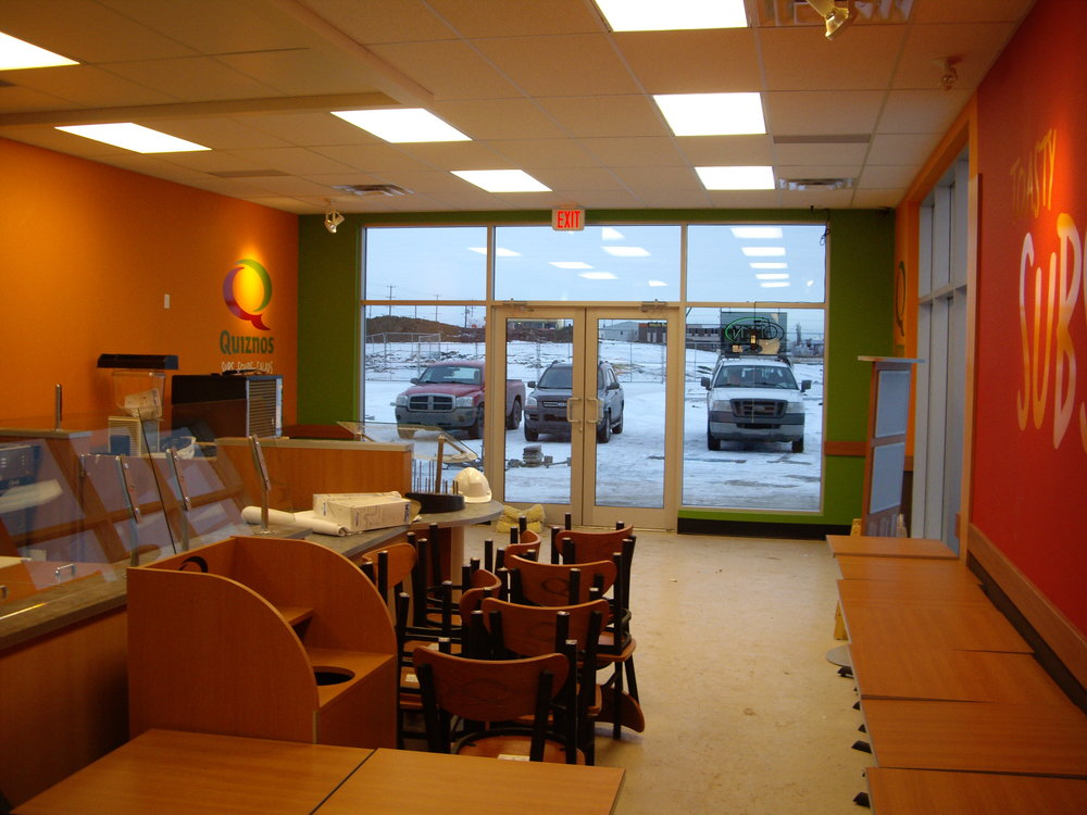 Quiznos  Located at16958 - 107 Ave. NW, Edmonton AB.  A Tenant Improvement to an existing CRU building.