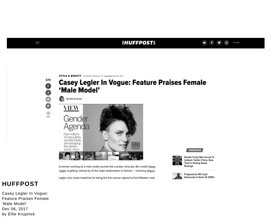 Casey Legler In Vogue: Feature Praises Female 'Male Model'