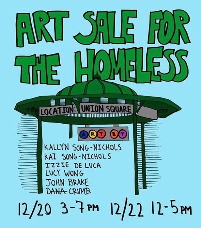 Pu to Union Square this Thursday and Saturday to buy awesome art! All proceeds go to creating care packages for the homeless. Feature article going up Friday! Event organized by @maxwellmeadow, poster by @dana_crumb