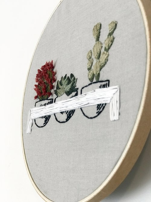 Potted Cactus Embroidery Wallflower