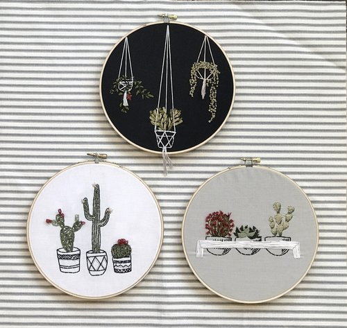 Hanging Cactus Embroidery Wallflower