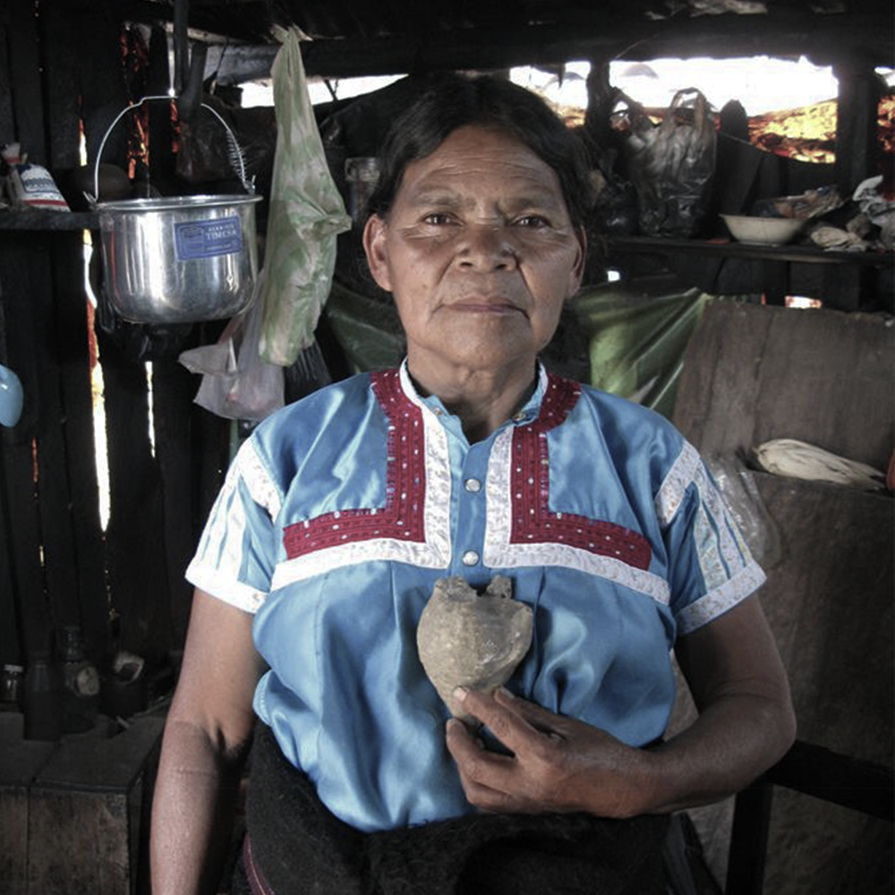 """We all know her as Maruch, she has profound roots that had been nourished by wisdom and ancestral knowledge linked to healing. In her community they call her """"j'ilol"""" healer and religious authority, she has learned traditional tzotzil activities through the word of old generations. She is a woman with no fear of expressing her imagination on different platforms, by using natural elements as well as audiovisual media and performance."""