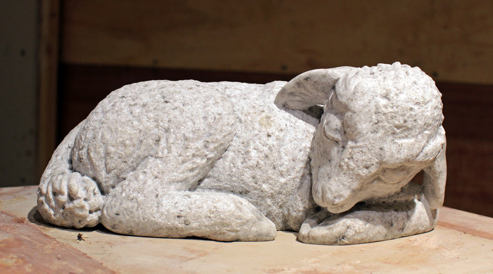 Sleeping Lamb Granite Carving