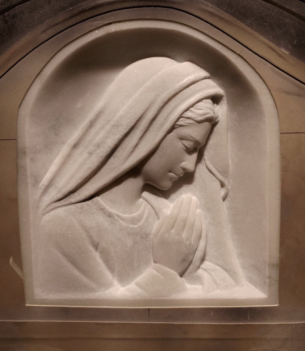 Praying Madonna Marble Relief Carving
