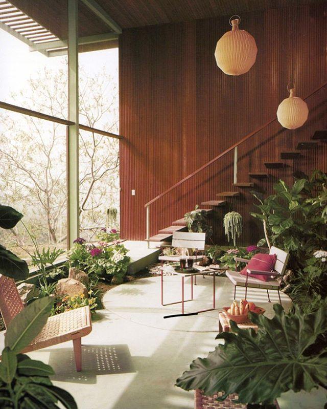 Jungalicious.  #jungalowstyle #midcenturymodern #glasswall #interiordesigner #obsessed #pinkchairs #1960s #modern #mcm