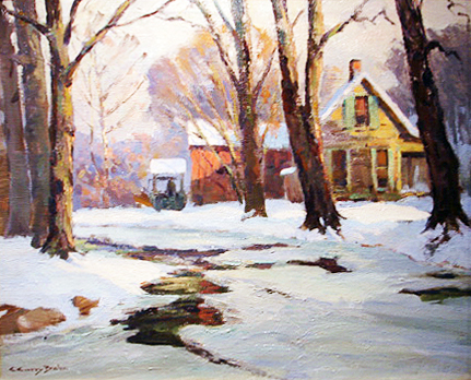 "Claude Curry Bohm ""House on Greasy Creek"" Oil on canvas: 20 x 24 Inches Signed Lower Left"