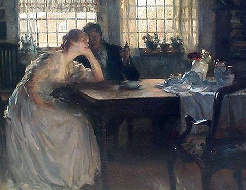 """Carl Von Marr """"Tea Time"""" Oil on Canvas: 34 x 43 Inches Signed Lower Right"""