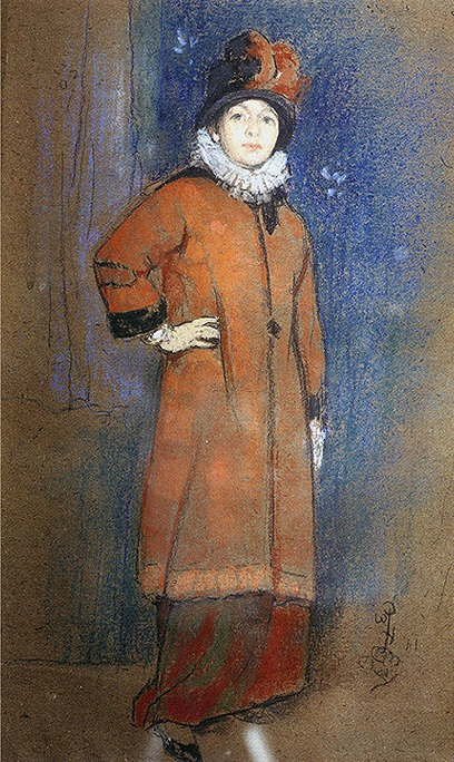 "William Penhallow Henderson ""Portrait of Woman in Red Coat"" Pastel/Charcoal on Paper: 11 x 7-1/2 Inches Signed with Monogram, Lower Right"