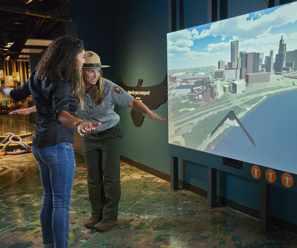 Fly Like An Eagle - Experience a motion-detection video game that gives visitors an aerial view of the Mississippi River in downtown Saint Paul and an opportunity to experience the river from a birds eye. Spread your wings and fly over the mighty Mississippi to look for fish to bring to your darling eaglets! Alongside this fun, interactive game you'll find more information about the bald eagles of Mississippi National River and Recreation Area.