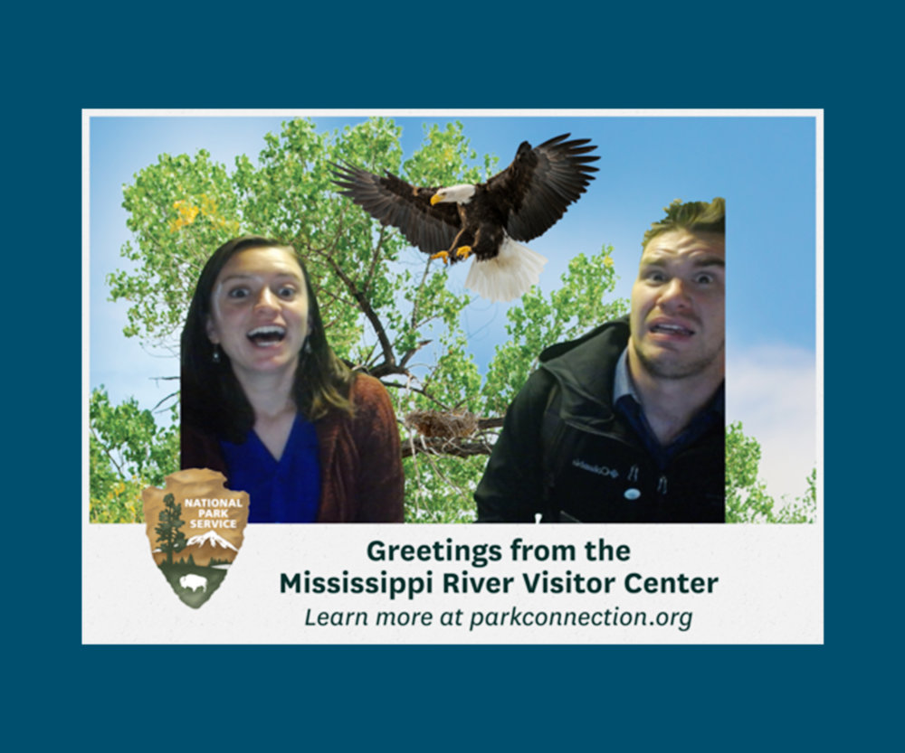 Postcard from the Park - Send your friends a funny postcard from the Mississippi River Visitor Center. Simply enter the photo booth, select your backdrop and props, and email or upload your postcard. With loads of backgrounds and fun props to pick from, you'll be sure to delight them with your photos!