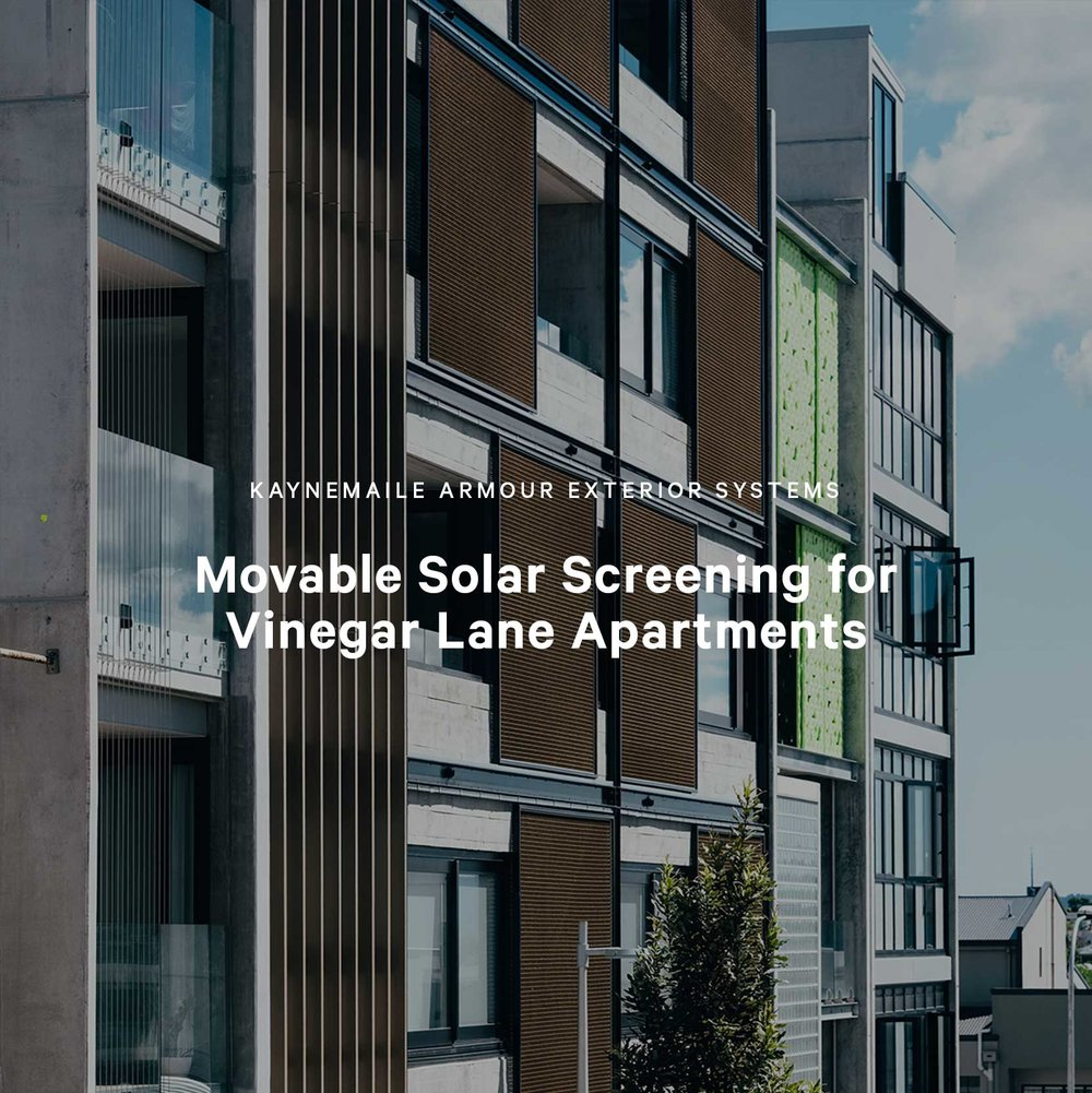 Movable Solar Screening for Uno Duo Apartments in Vinegar Lane, Auckland, New Zealand