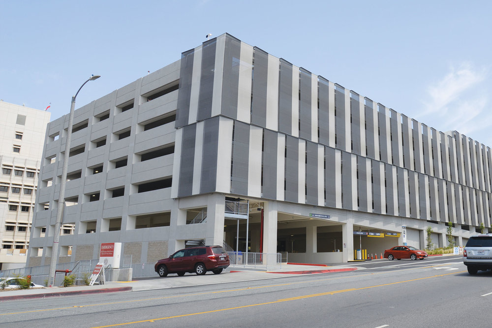 Loma Linda University Carpark:  The hot, dry climate of San Bernardino meant sun protection and airflow were critical requirements for the facade.