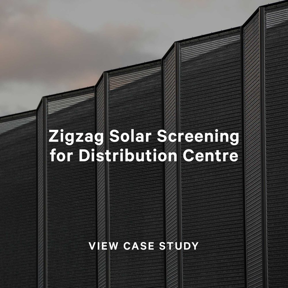 zigzag solar screening for distribution centre with kaynemaile-armour