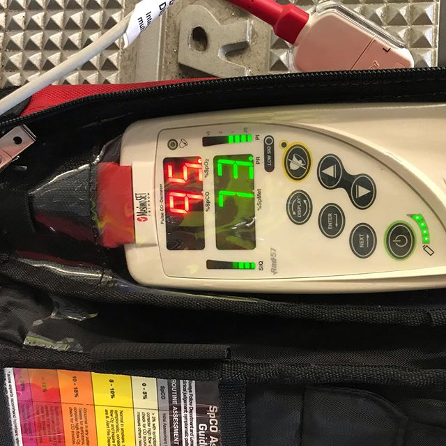 Fact Friday: let talk about sat monitors. What do they do and how does that effect our assessments. Sat monitors are actually a big misconception in EMS. We are taught that we are getting an oxygen reading when we use a sat monitor. However, sat monitors actually are read Hemoglobin saturation. In other words how much of the hemoglobin on the red blood cells are actually bound to a molecule. So let's break this down. On a single red cell there between 250-270 million hemoglobin. Each hemoglobin has 4 receptors on it. Which means that every single red blood cell (of which there are approximately 20-30 trillion) are capable of carrying 1 billion molecules of oxygen. When we get a reading it's showing us just that, what percentage of our hemoglobin are saturated, not how much oxygen we have bound. We know that we want to see a sat reading between 94%-99%. We know that we do not want sats of 100% due to free radical release. But if all we are reading is the percentage of hemoglobin saturation, there is no guarantee that it's actually oxygen on that hemoglobin. We take for granted that most of our patients are not exposed to carbon monoxide (which binds 200-300 times more readily to hemoglobin that O2), or Cyanide (which when taken into the blood will bind 92%-99% to hemoglobin). So we assume that since most of our patients are not chronically or acutely exposed to these other gases that the reading is in-fact O2. However, if we go on patients that are experiencing symptoms like headache, nausea, shortness of breath, fatigue, or Altered LOC. We should used a device like the RAD-57, or Zoll Monitors equipped to read SPCO. These devices are specifically designed to read not just the saturation of the hemoglobin, but to actually decipher what percentage is carbon monoxide. Then with this reading we can take the appropriate treatment steps as per our protocols. With our patients being indoors more during the winter months, the increased use of furnaces, and in some cases spa