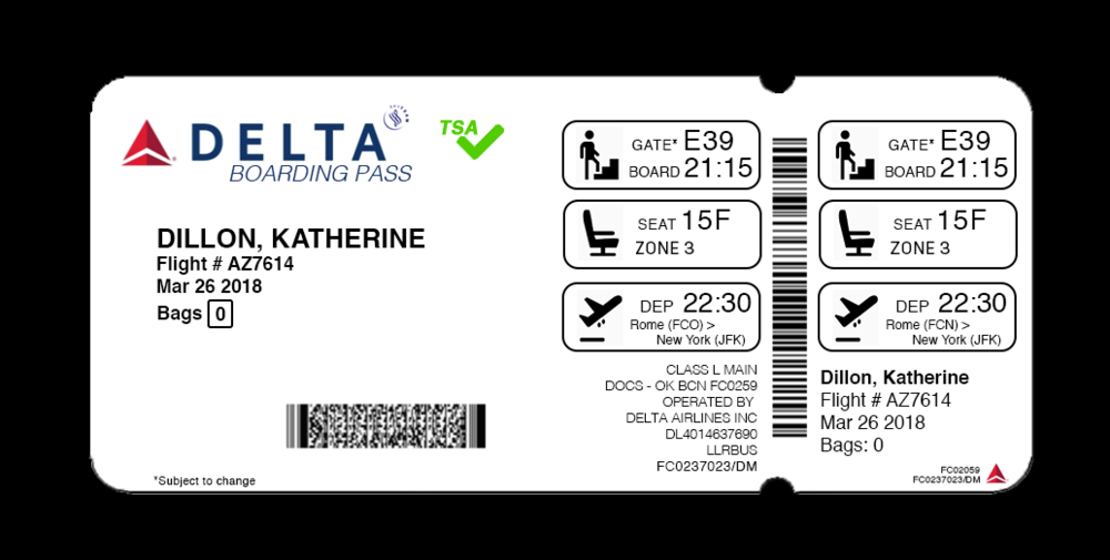 Redesigned boarding pass.