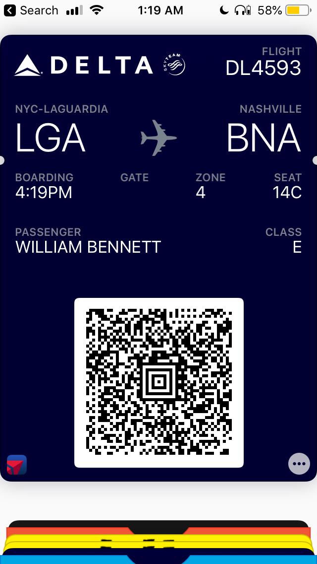 A digital boarding pass.