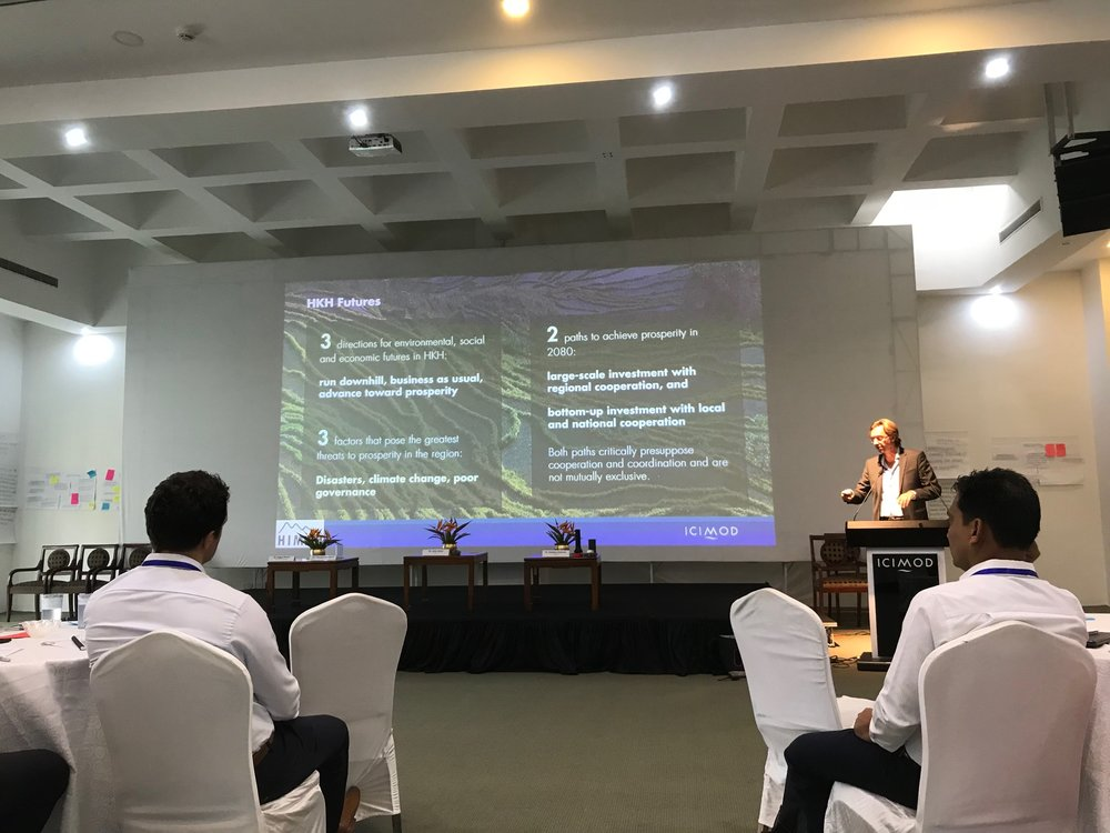 Dr Phillipus Wester from ICIMOD presenting the results of the Hindu Kush Himalaya Assessment Project, with pathways to future prosperity.