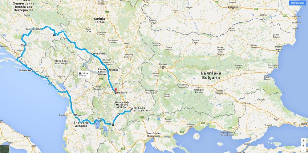 Balkan bisiklet Turu rotası.JPG