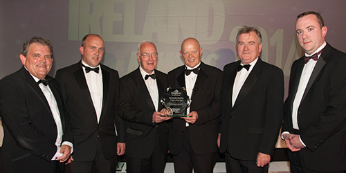 Sustainable Ireland Awards 2014 - Pictured above Adrian Logan, Sean McCarron of PJ Treacy & Sons, Contractor; Paul McAlister; Malachy McAleer and Joseph Martin, both from South West College; and the Kingspan sponsor.