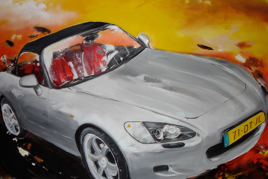 Painting of a convertable car of J. Kerskes.