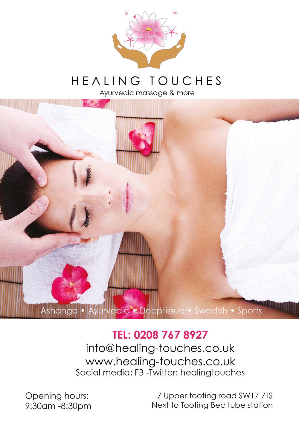 FLYER FRONT Healing Touches, Ayurvedic Massage salon in London.