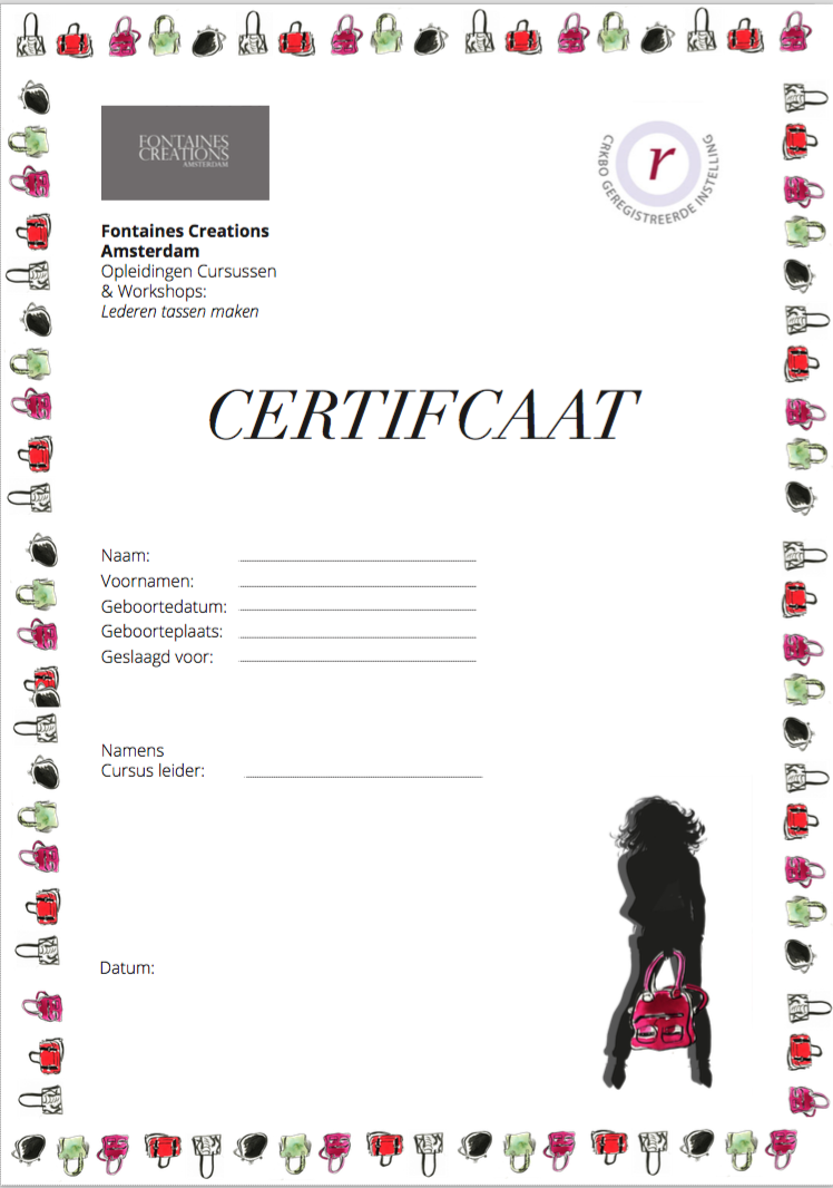 CERTIFCATE for FONTAINES CREATIONS in Amstedam.
