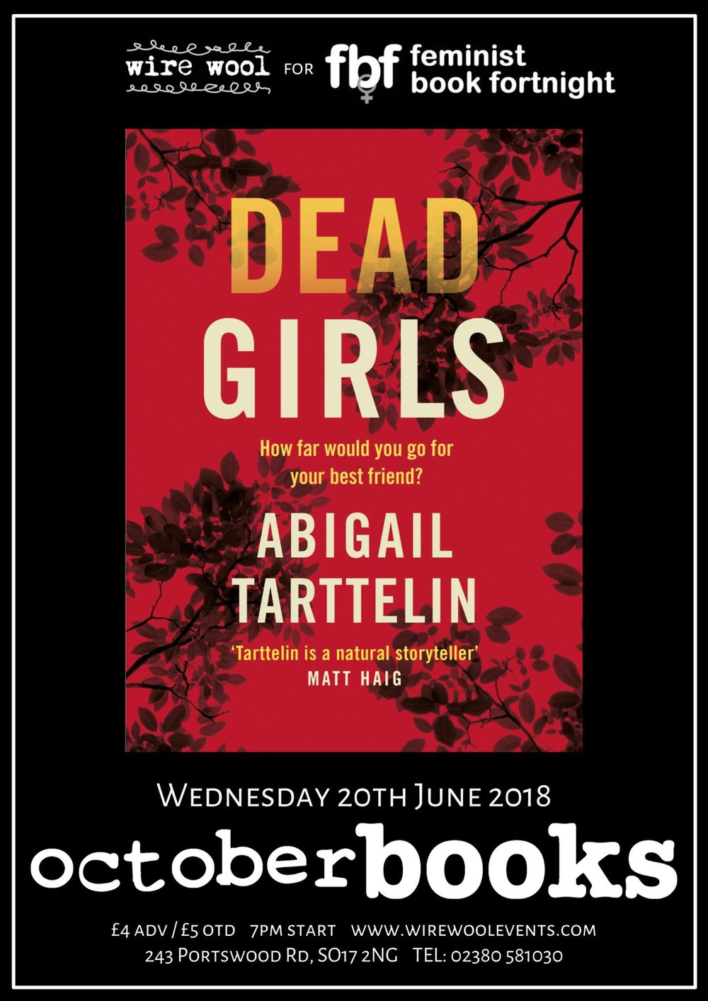 Dead Girls: Abigail Tarttelin signing Wednesday June 20 2018