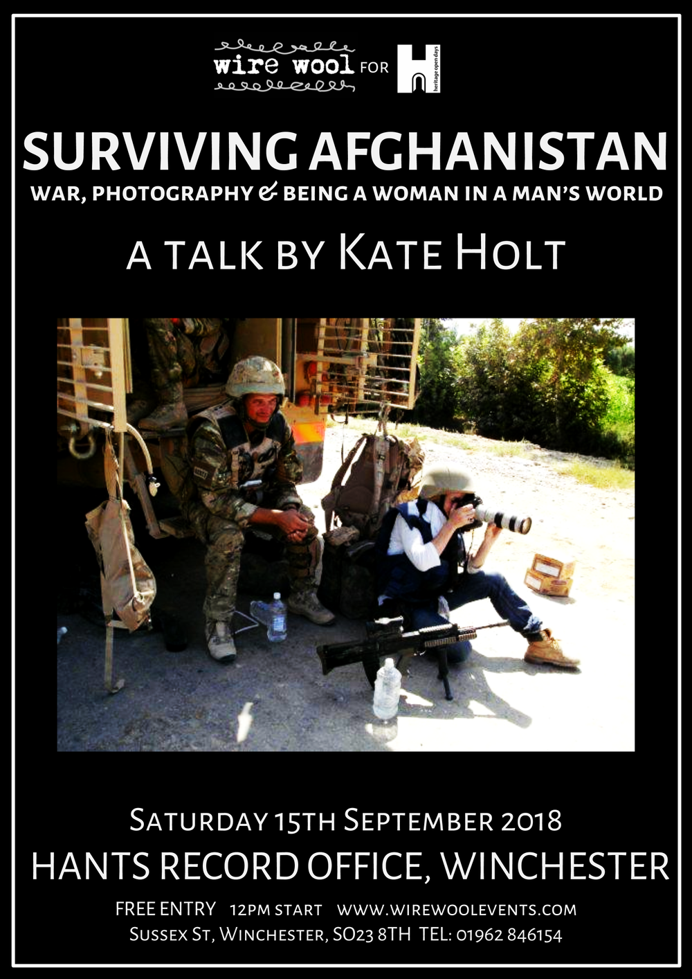 Kate Holt: Surviving Afghanistan  Saturday, September 15, 2018 12:00pm Hampshire Record Office
