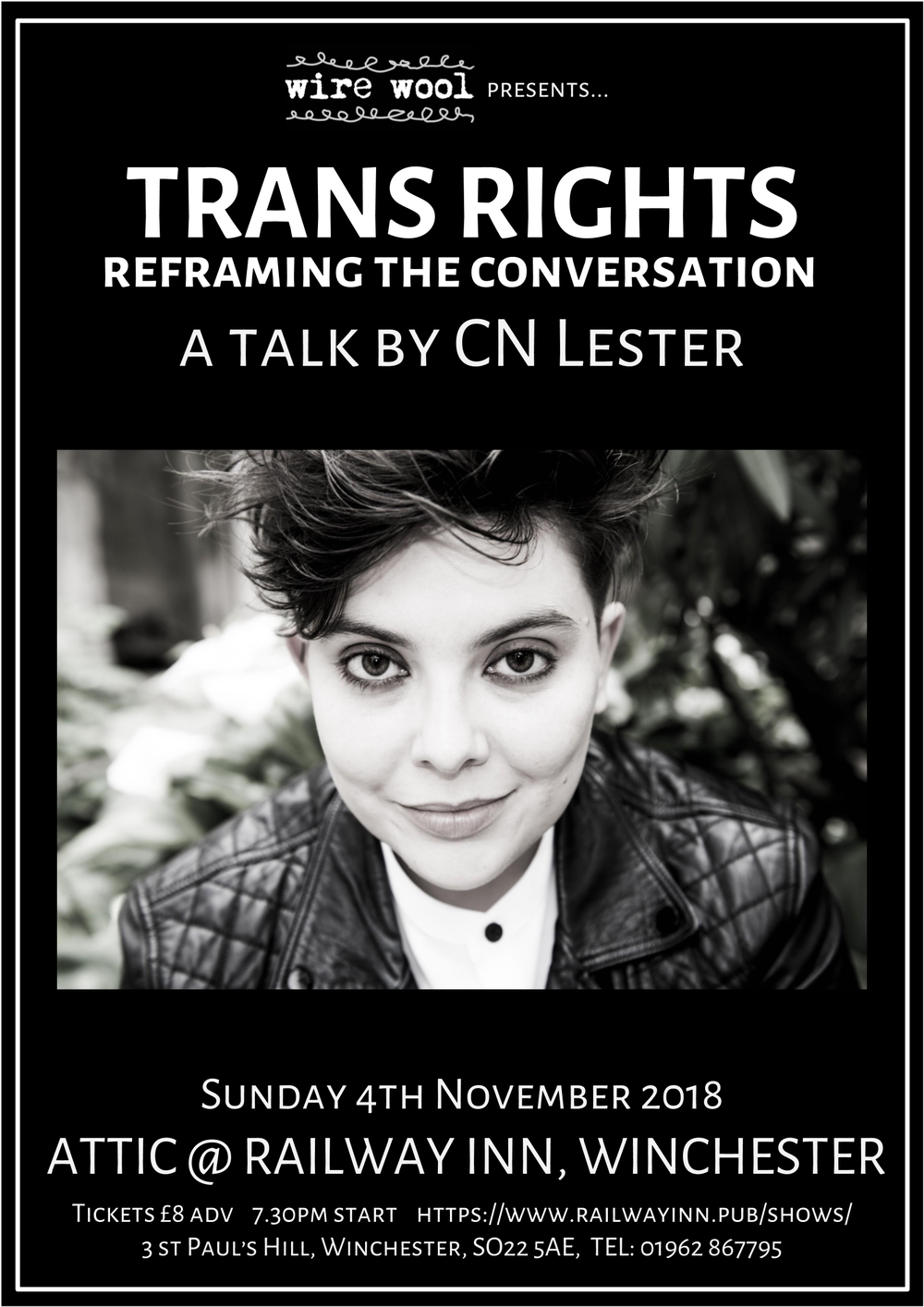 Trans Rights - Reframing the Conversation: a talk by CN Lester Sunday November 4 2018