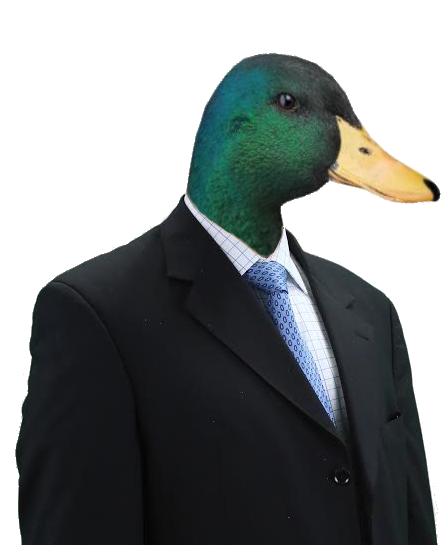 A duck in a suit, get it?