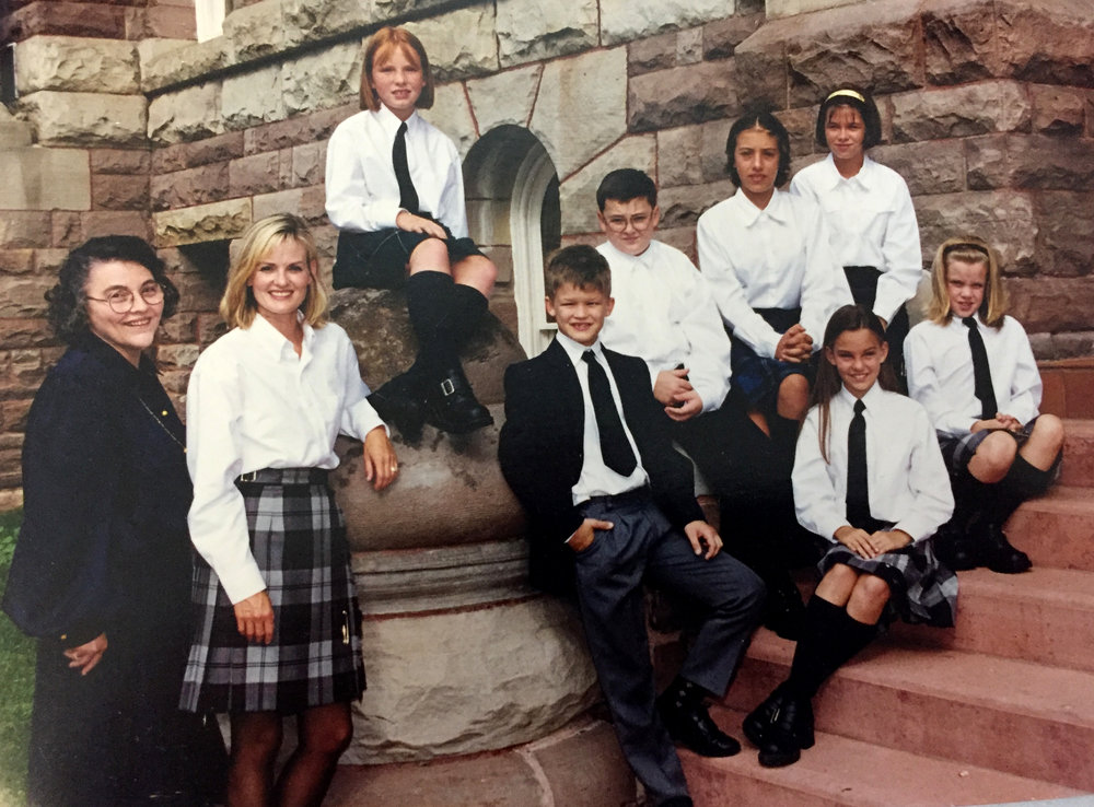 Miss Hurley, Mrs. Forgie and the Original First Seven Students of The Oxford School. Fall of 1999.
