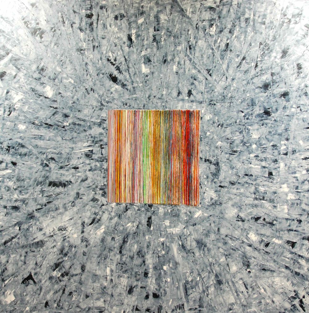 This painting is something of a commentary on the importance of the witness. The colours that emerge from Primo Levi's account of his concentrationary existence (barely life) at Auschwitz, are the only readable factor in a grey abstracted field. The colours are highly symbolic and meaningful. The preponderance of gold, for example is referential to the gold extracted from Jewish teeth in the concentration camps. The exterior grey border is also a nod to the debates about the representability or otherwise of the Holocaust, without being a symbol of it.