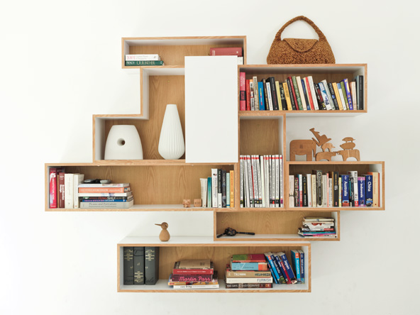 Oak and white cube bookcases.