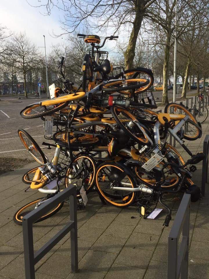 Pile of bikes from the bike sharing service company OBIke. Photo: TUD