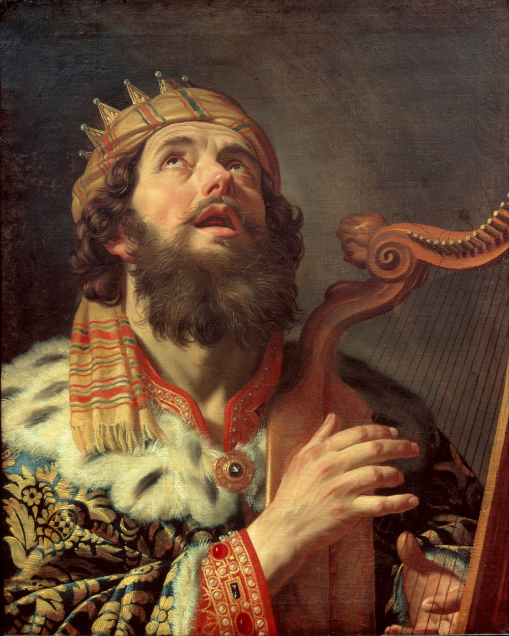 King David Playing the Harp. Artist: Gerard van Honthorst