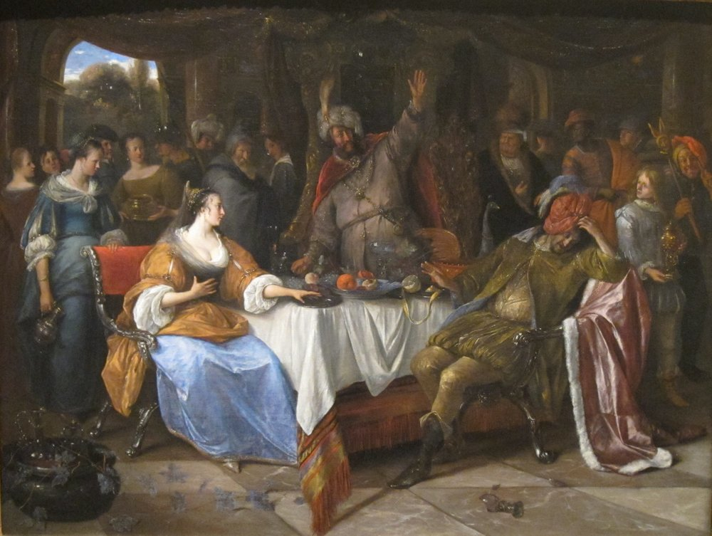 Esther, Ahasuerus, and Haman. 1668. Artist: Jan Steen