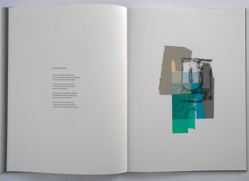 Brief:  To design, illustrate, print and bind a limited edition artist's book in collaboration with a poet. The 11 poems are a sequence which explores the cultural, historic and ecological richness of a stretch of suburban Dublin coastline. Each poem responds to a specific location. One of the themes which runs through the poems is the idea of the city as a palimpsest.