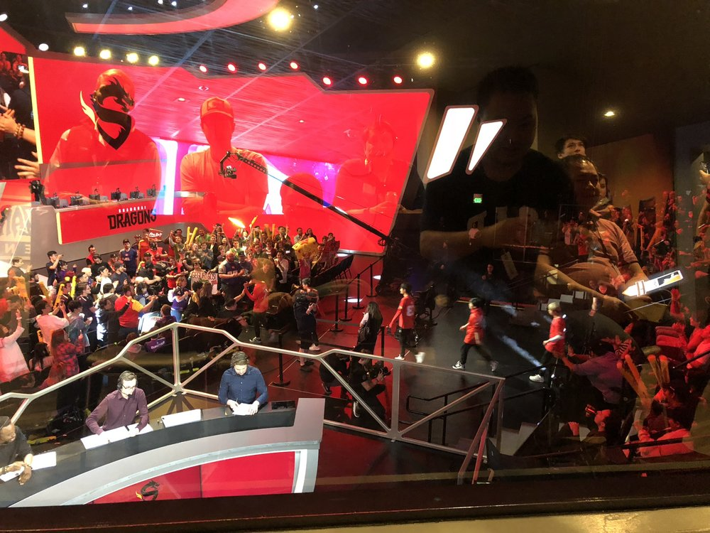 Broadcast Desk as the Shanghai Dragon's Team walks out.