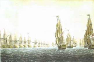 Battle of the Nile, August 1798, by Whitcombe, from the collection of David Syrett