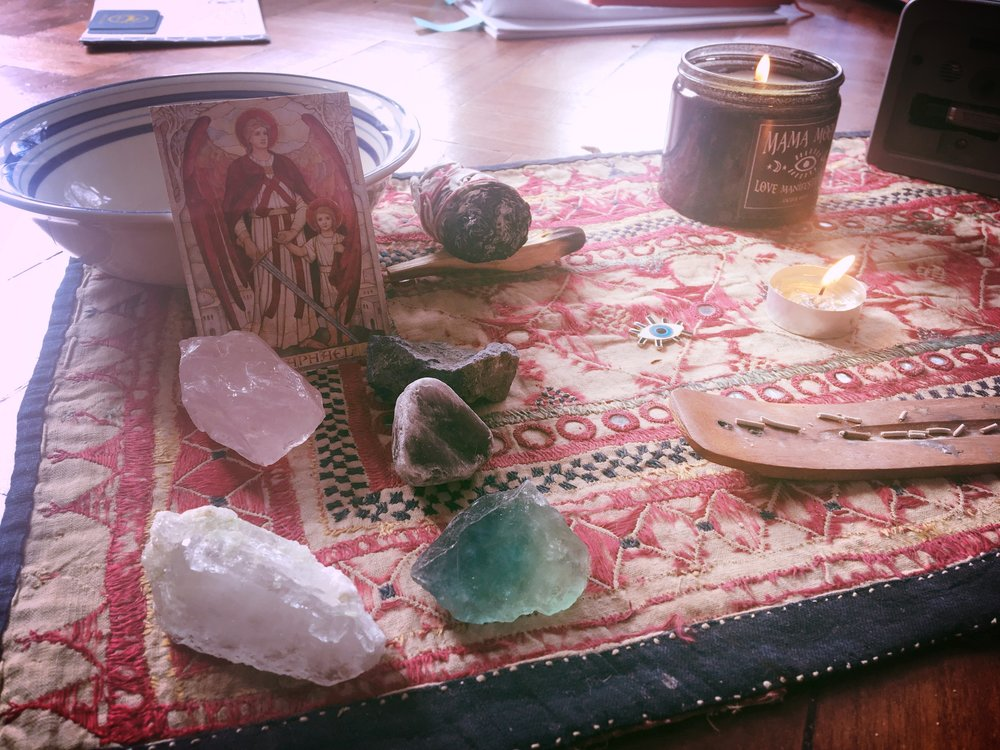 Crystals and incense to help with the day's good vibes