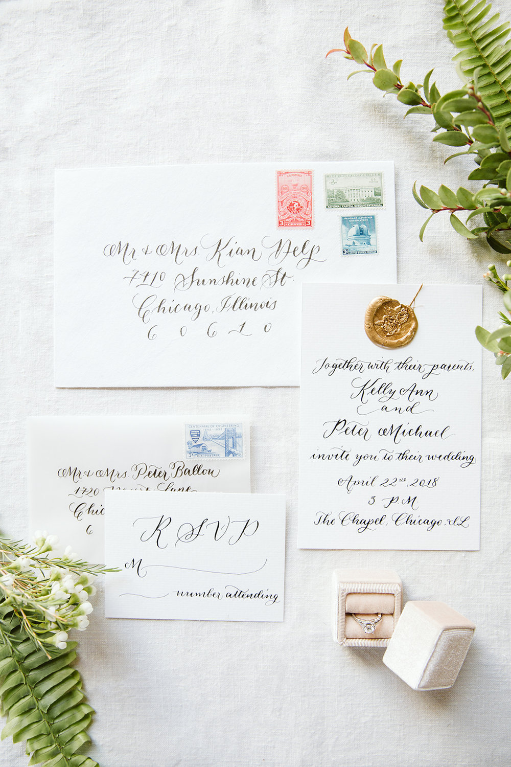 Classic wedding invitation suite with custom calligraphy