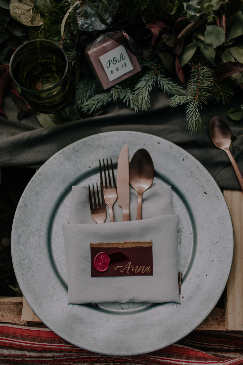 Copper and Silver Flatware for Chicago Elopement