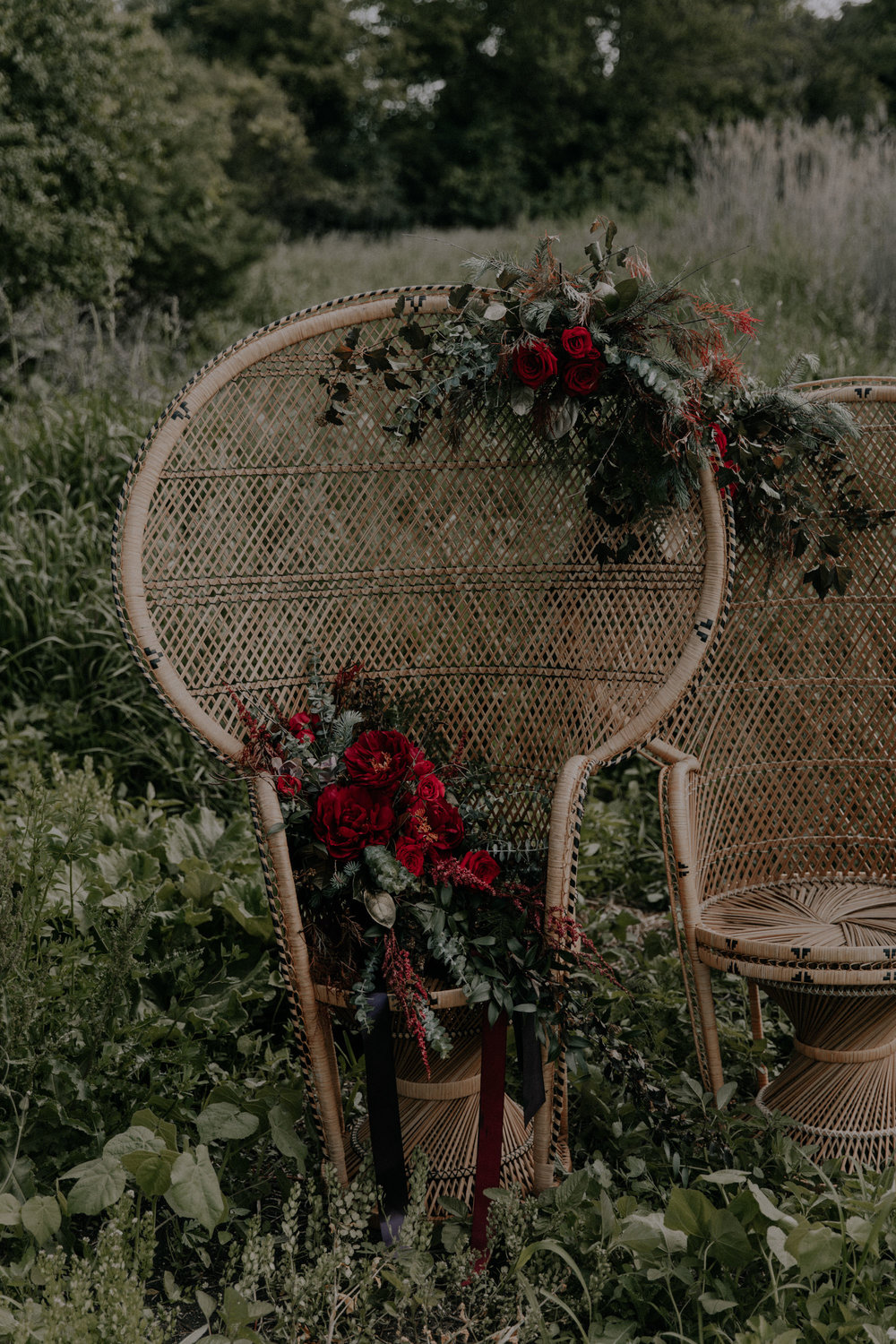 Wedding Wicker Chair with Red Roses and other flowers
